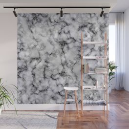 Grey and Black Veined Faux Marble Repeat Wall Mural