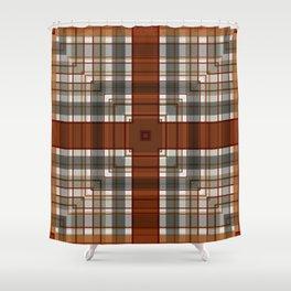 Burnt Sienna Plaid Pattern Shower Curtain