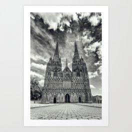 Lichfield Cathedral mono Art Print