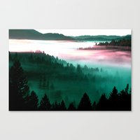 mountains Canvas Prints featuring Misty Mountains Morning : Magenta Mauve Teal by 2sweet4words Designs