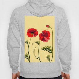 Adorable Red Poppies Unfold Hoody