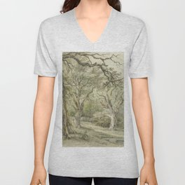 Forest Vintage Watercolor Painting Unisex V-Neck
