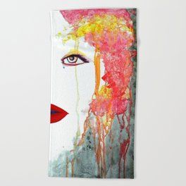 Angry Girl Beach Towel