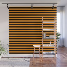 Dark Pumpkin Orange and Black Halloween Deck Chair Stripes Wall Mural