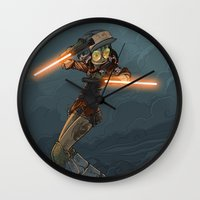 bouletcorp Wall Clocks featuring LaserGirl by Bouletcorp