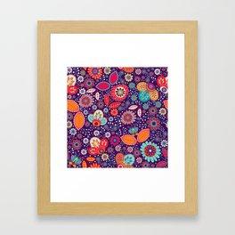 Colorful khokhloma flowers pattern Framed Art Print