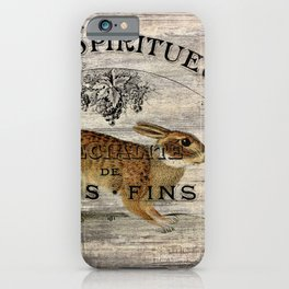 vintage typography fall harvest autumn woodland french hare rabbit iPhone Case