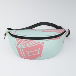 pink books -turquoise backgroung pattern Fanny Pack