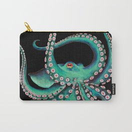 Octopus Tentacles Dance Teal Watercolor Ink Black Carry-All Pouch