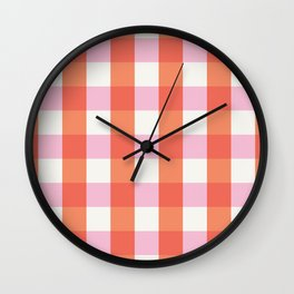 lavender orange plaid gingham Wall Clock