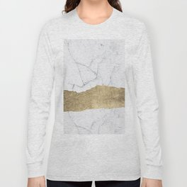 Elegant faux gold foil gray white modern marble Long Sleeve T-shirt