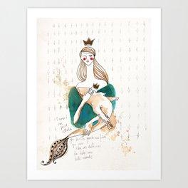 Girl and fish (careful) Art Print