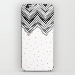 Geometrical black blush pink polka dots chevron iPhone Skin