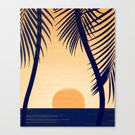 Retro Golden Sunset - Tropical Scene Canvas Print