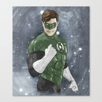 green lantern Canvas Prints featuring Green Lantern by Alex Heuchert