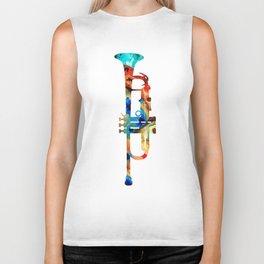 Colorful Trumpet Art By Sharon Cummings Biker Tank