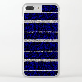 Silver Stripes with a Blue Plasma Background Clear iPhone Case