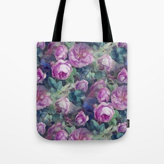 Floral pink roses pattern Tote Bag