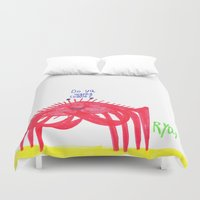 cuddle Duvet Covers featuring Wanna Cuddle? by Ryan van Gogh