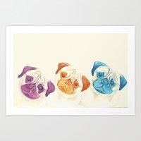 pugs Art Prints featuring Three pugs by mirikins