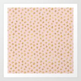 Gold Pink Blush Glitz Sparkle Stars Art Print