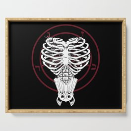 Creepy Bat Skeleton Nu Goth Witchcrat Satanism Serving Tray