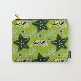 Cute ocean animals on background. Childish vector illustration of turtle, star shell and coral. Carry-All Pouch