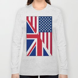 American and Union Jack Flag Long Sleeve T-shirt