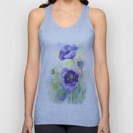 Watercolor blue poppy flowers Unisex Tank Top