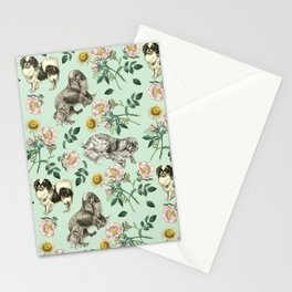 DOG ROSE & TOY SPANIEL - MINT Stationery Cards