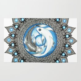 Yin and Yang Butterfly Koi Fish Mandala Rug