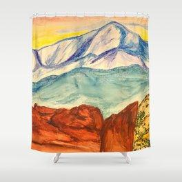 Pikes Peak at Sunset  Shower Curtain