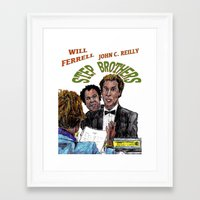 will ferrell Framed Art Prints featuring Step Brothers by AdrockHoward