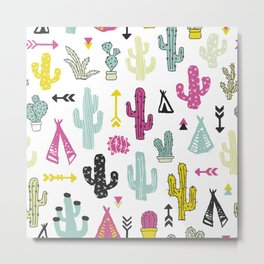 Colorful indian summer cactus garden and teepee illustration patte Metal Print