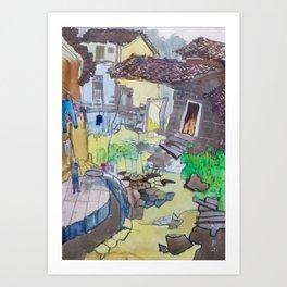 Village View Watercolor Art Print