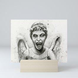 Weeping Angel Watercolor Mini Art Print