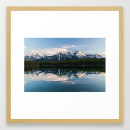 Rocky mountains reflected on Herbert Lake, Alberta, Canada Framed Art Print