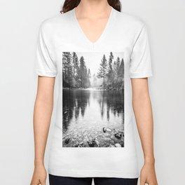 Forest Reflection Lake - Black and White  - Nature Photography Unisex V-Neck