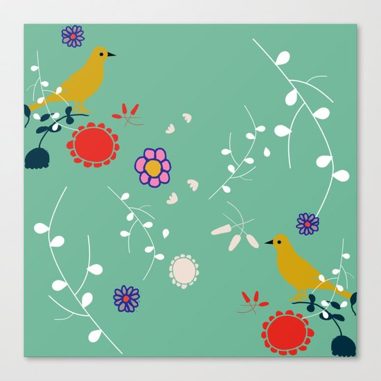 Bird and blossom green Canvas Print