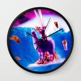 Laser Eyes Space Cat Riding On Surfing Llama Unicorn Wall Clock