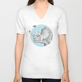Triceratops and Birdies Unisex V-Neck