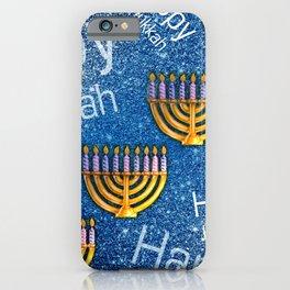Happy Hanukkah Holidays Menorah Pattern iPhone Case