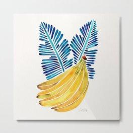 Banana Bunch – Navy Leaves Metal Print