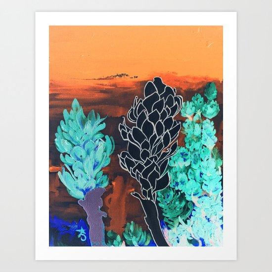 DESERT NIGHT Alpinia Purpurata Art Print
