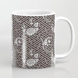 Black Chrysanthemum Auspicious Sayagata Japanese Kimono Pattern Coffee Mug