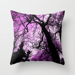 Purple evening moon through the trees Throw Pillow