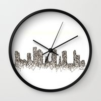 houston Wall Clocks featuring Houston Skyline by Nathasa Rae