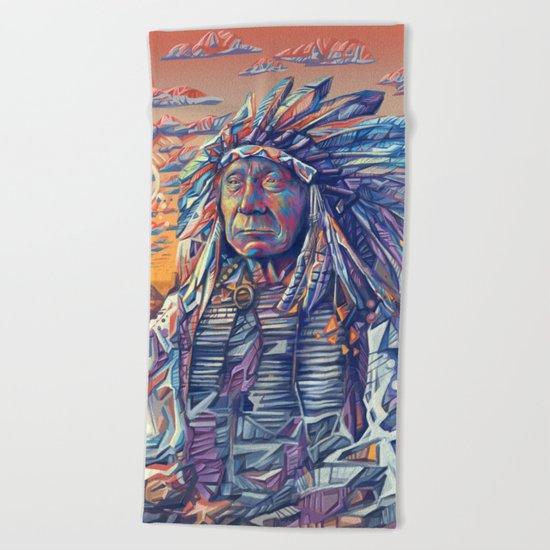 native american portrait-red cloud Beach Towel