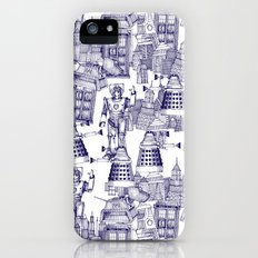 Doctor Who Toile de Jouy | 'Walking Doodle' | Blue Slim Case iPhone (5, 5s)