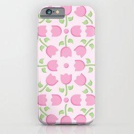 Pink Tulip Pattern iPhone Case